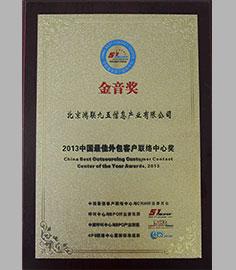 2013年中国最佳外包客户联络中心奖